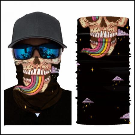 Nákrčník | šátek - lebka s duhou